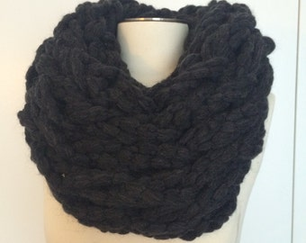 Charcoal grey chunky knit cowl scarf
