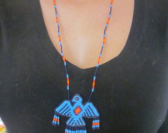 Chaquira necklace, handmade, tribal or boho-chic type, with Eagle at the Centre. Super ethnic and colorful