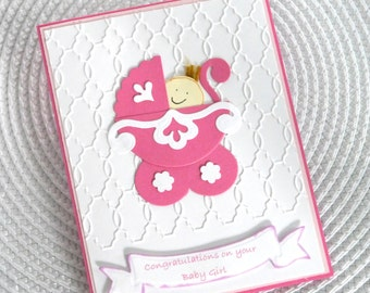 Handmade Greeting Card: Pink and White Baby Girl Congratulations