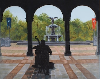 Silhouette of Cello Player in Central Park, NYC Original Oil Painting
