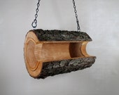 Bird Feeder-Wild Cherry-The Original Natural Log Seed Feeder - Log Bird Feeder - Bird Feeder upcycled from fallen trees-Hand Made - Gift