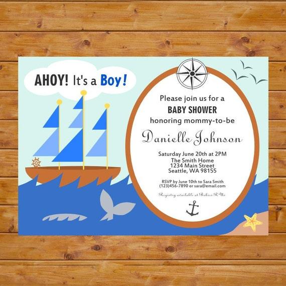 ahoy it 39 s a boy invitation baby boy shower invitation nautical