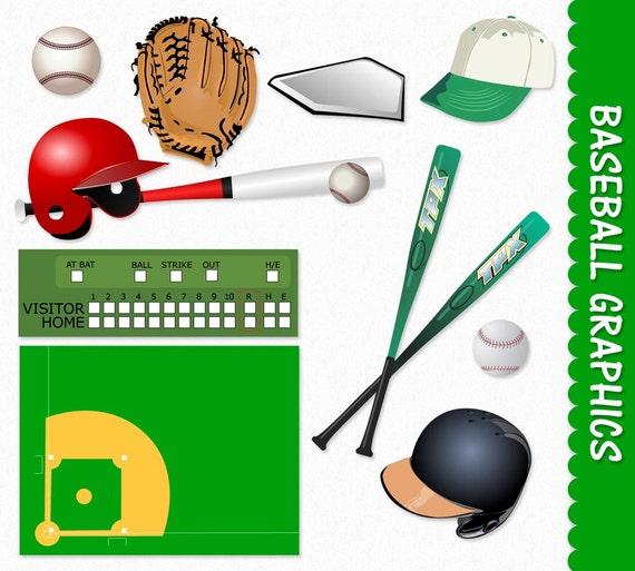 Baseball Clip Art Sport Clipart Graphic Scrapbook Cap Bat