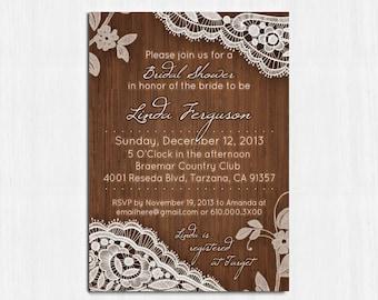 Bridal Shower Invitation, Elegant White Lace Invite, Lace Bridal shower invitation, Printable, Rustic invitation, Wooden shower invitation