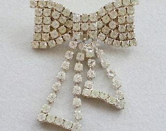 Vintage Rhinestone Bow Pin with Tails