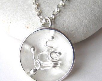 Sterling silver pendant, Silver necklace, organic silver pendant, spring necklace, unusual, nature jewellery, OOAK, made in Dorset, handmade