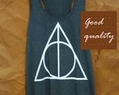 Cute tank top Harry Potter shirt racerback tank Deathly Hallows tank top size S M L XL sleeveless top/ singlet/ t shirt/ sale clothes