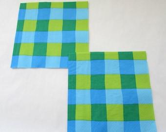 Checkered napkins Decoupage Napkin Craft Napkin Paper Supplies Craft Napkin Papercrafts Checkered paper Mixed Media Vintage Paper Set Of 3