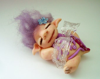 Fairy, troll, sleeping little mythical creatures, pixi, Elf