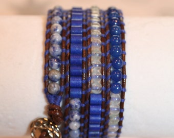 4 Wrap Bracelet - Hand crafted with Semi-precious stones
