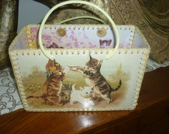 Retro style bag with vintage cat images just like made in the 50-60's.