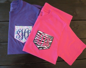 Monogrammed Pocket Tee- Design Your Own Shirt-Personalized Pocket Tee- Tshirt- Custom Shirt- Applique- Bridal Party Gift - Personalized Gift