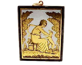 Georgian 18K Gold Verre Eglomise Neoclassical Pendant