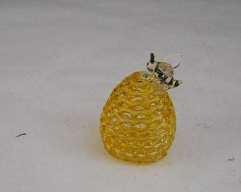 Vintage Glass Blown Beehive with Bee on Top