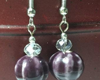 Purple Stone Dangle Earrings