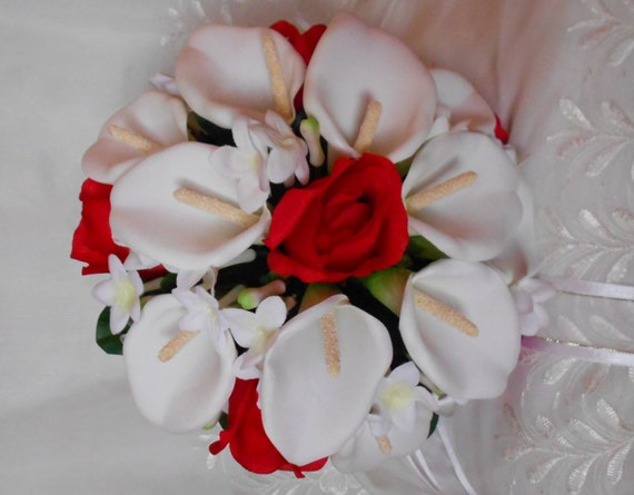 Silk wedding Bridal bouquet nosegay style with faux rhinestone handle wrap Callas and roses red and white