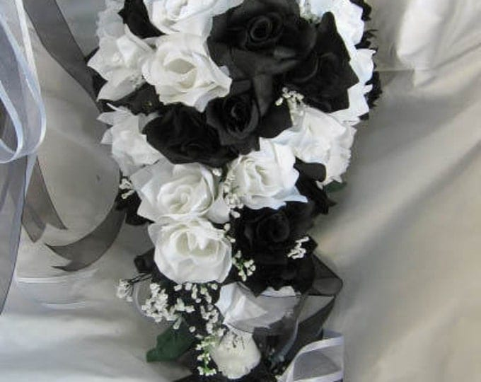 Silk Wedding bridal bouquet black and white 4 pc Cascade style made of all roses