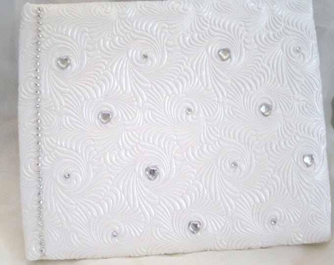 Custom made guest book white with touches of silver and rhinestone