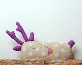 Deer sleeping. Designer hand-embroidered toy, Stuffed animal, Animal Toy, children