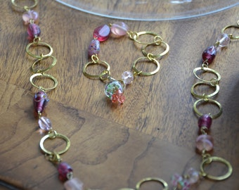Gold necklace with pink glass beads & bracelet set