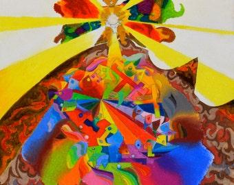 """Original Art Modern Art Wall Art Fine Art Abstract Mixed Media Artwork Pastel Marker Small Size 11"""" x 14"""""""