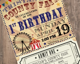 "Vintage ""County Fair"" Customizable Birthday Party Invitation with Poster and Admission Ticket, County Fair, Country Fair, Carnival"