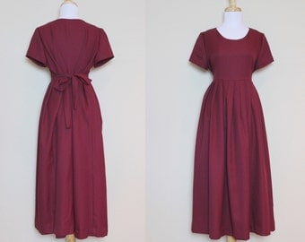 Burgundy Oversized Dress / Vintage Dress with Pleats / High Waisted Dress