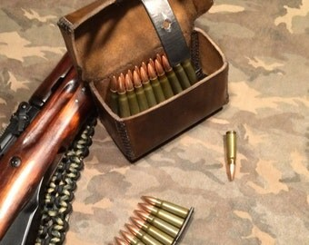 SKS hand stitched leather ammunition pouch
