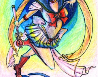 Super Sailor Moon Colored Pencil Fan Art print