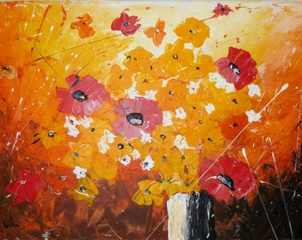 Flower painting Original Acrylic Canvas Art Modern Abstract floral painting poppies