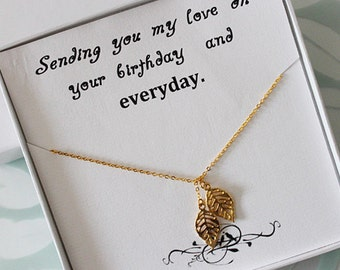 Best Friend Necklace & card, Leaf Lariat Necklace, Gold leaves Lariat Necklace, Best friend gift, Birthday gift, Leaf Pendant Necklace