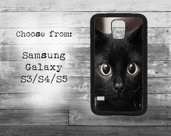 Black cat eyes phone cover for Samsung Galaxy S3/S4/S5/S6/S7/S7edge phone - cute cat, black cat case for samsung galaxy phone