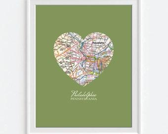 Philadelphia Pennsylvania Heart Vintage Map ART PRINT, Philadelphia eagles phillies flyers 76ers, gift for couple,Christmas gift for her