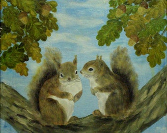 Two Squirrels Animals Original Landscape Paiting Oil on Canvas Handmade by Silvia Dimova