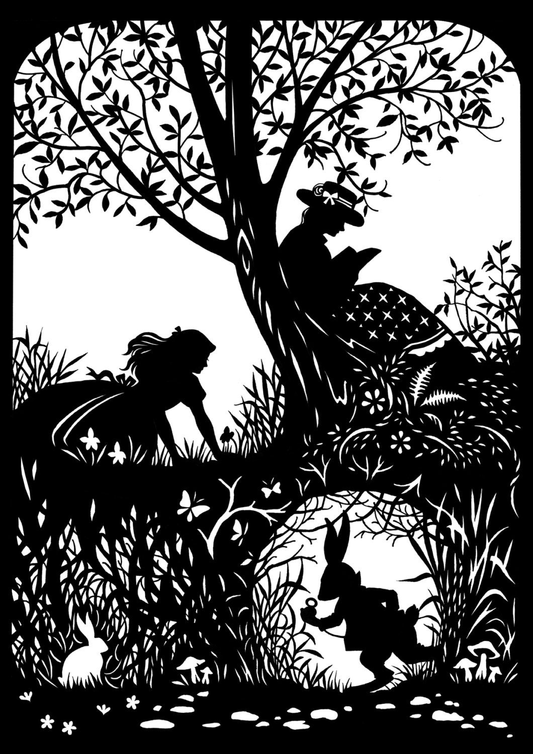 Alice with rabbit paper cutting by cutsbydeborah on etsy for Paper cut out art templates
