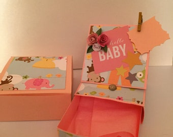 Easel Card with drawer and box 3 x 3. Gift Box. 3 D