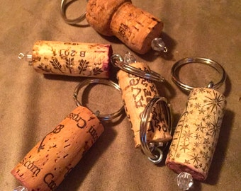 Repurposed Cork Keychain with Optional Embellishment