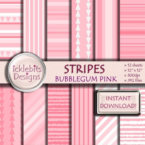 """Pink Stripes Digital Paper Pack, """"BUBBLEGUM PINK"""" For Scrapbooking, high resolution, striped, triangles, baby girl, Design #27"""