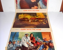"Vintage Authentic Clark Gable ""Rhett Butler""-Vivien Leigh-""Scarlett O'Hara"" in Gone With The Wind R-61 Set of 3 GWTW Lobby Cards"