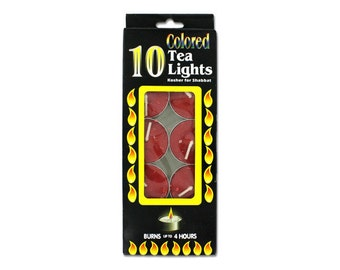 10 Pack Colored Tealights Tea Light Candles