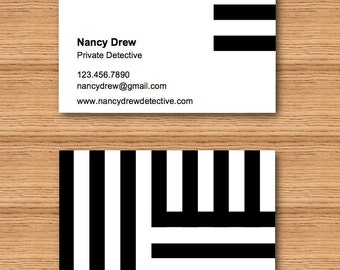 Instant Download - DIY Printable Double Sided Business Card Template - Black and White Stripes