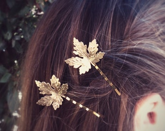Maple Leaf Hair Pins Gold Maple Leaf Bobby Pin Leaf Hair Clip Bridal Hair Woodland Wedding