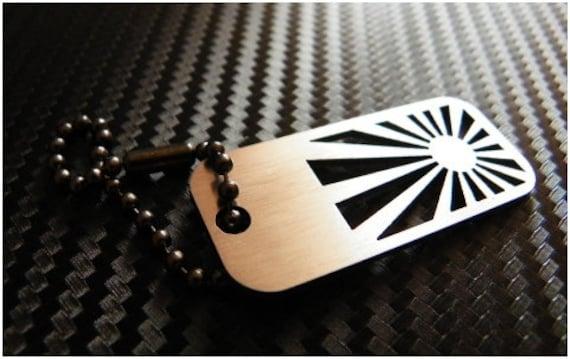 JDM flag stainless steel keychain v1