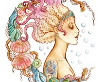 A4 size Art Print - Octopus Mermaid- Pin Up Illustration Inspired by Art Nouveau, HP Lovecraft Cthulhu & Tattoo culture.