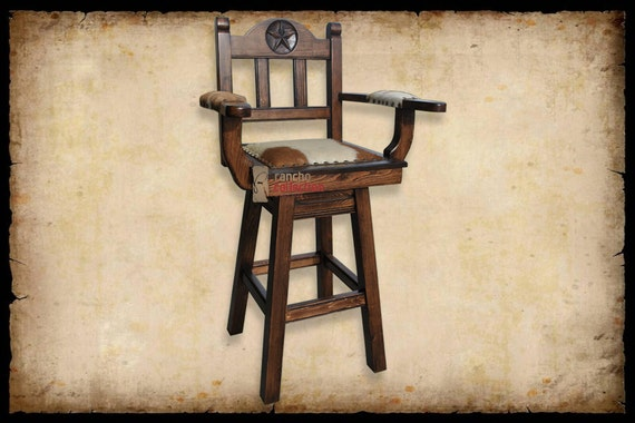 Texas Western Swivel Bar Stool With Cowhide By