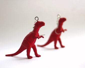 FREE SHIPPING Your Choice Color T-Rex Upcycled Repurposed Plastic Dinosaur Toy Earrings Hypo-allergenic