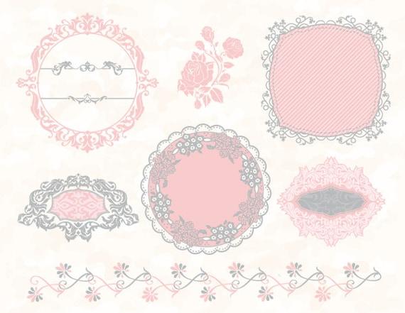 Pink grey digital frame border clip art flower flourish
