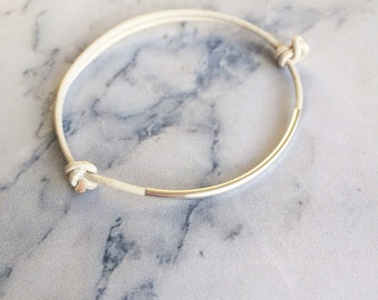 Sterling silver tube bead and white leather friendship bracelet / minimal delicate