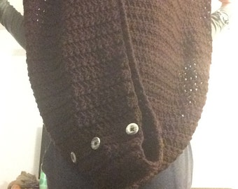 Brown Infinity Scarf with Buttons
