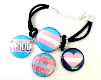 Trans Pride Bracelet | Interchangeable Magnet Button Bracelet |  Trans Pride Jewelry |  Transgender Pride Flag